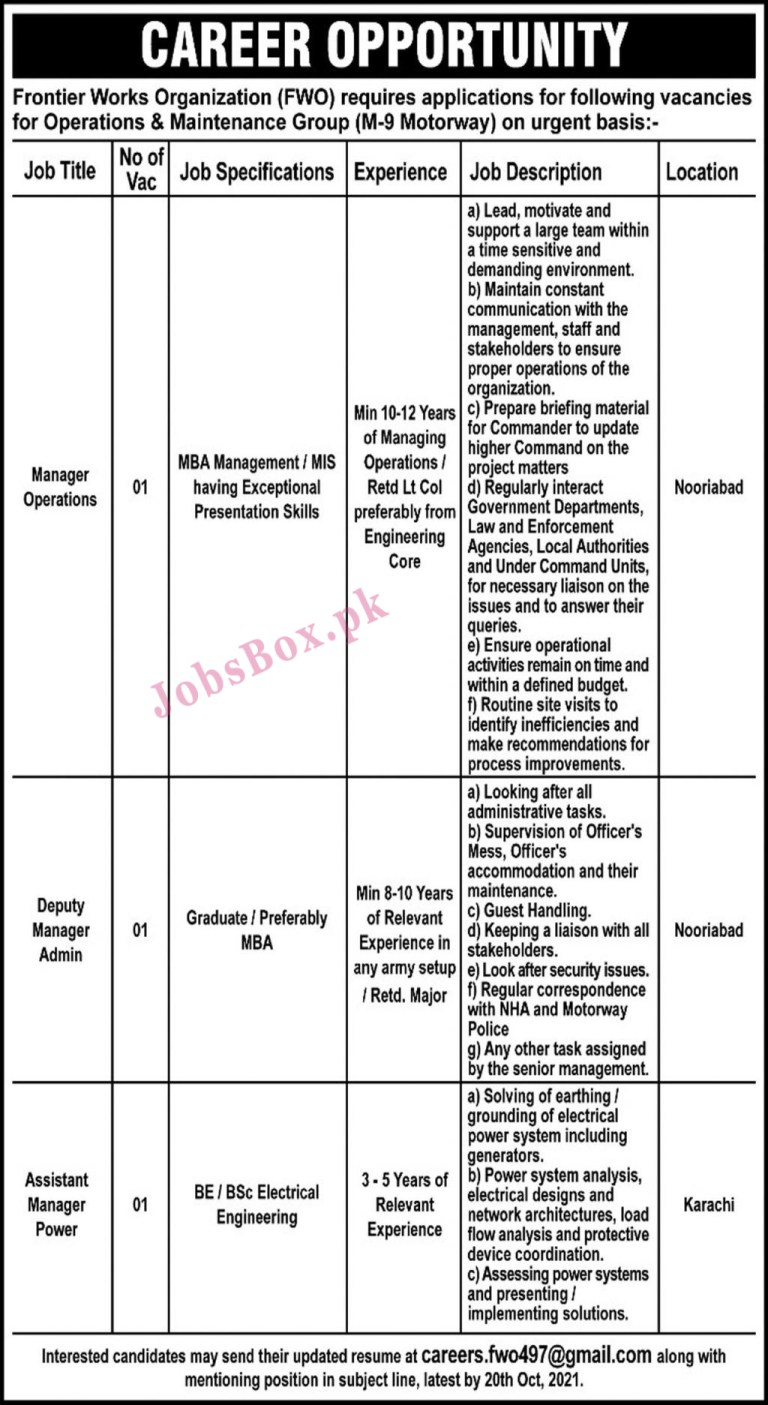 careers.fwo497@gmail.com - FWO Frontier Works Organization Jobs 2021 in Pakistan