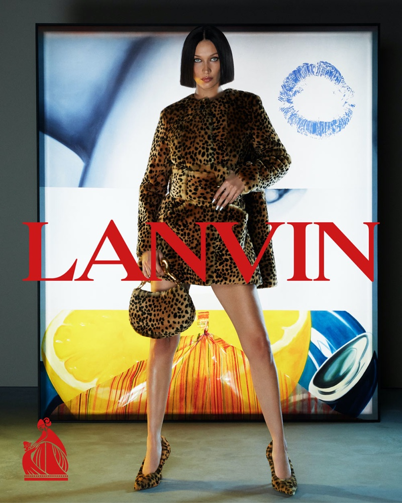 Lanvin features Bella Hadid in an animal print look for fall-winter 2021 campaign
