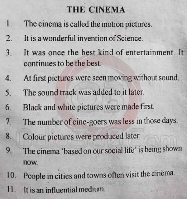 The Cinema - 10 Lines Essay in English Language for Juniors