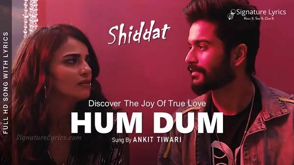 Hum Dum Lyrics - Shiddat | Ankit Tiwari | Sunny Kaushal, Radhika Madan