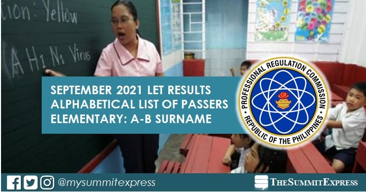 A-B Passers Elementary: September 2021 LET Result