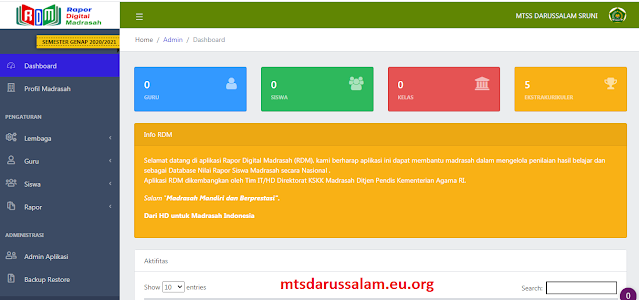 RDM (Rapor Digital Madrsah) Tahun 2021