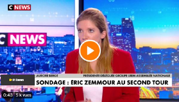 [VIDEO] Aurore Bergé : «Eric Zemmour est quelqu'un qui a peur de se déclarer et quand on veut être Président de la République on ne peut pas avoir peur»