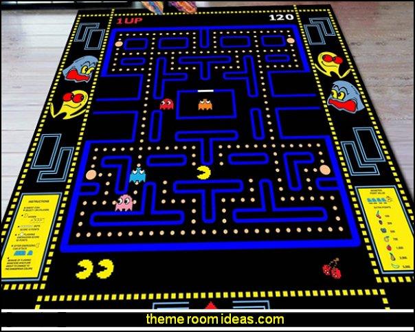 pacman rug pacman rugs arcade game room decor retro gamers decor