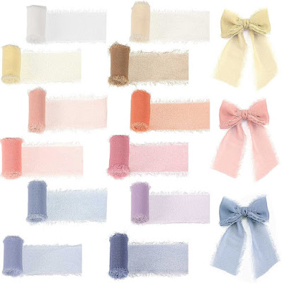 Cream Green Chiffon Ribbons for DIY Crafts and Party Decorations