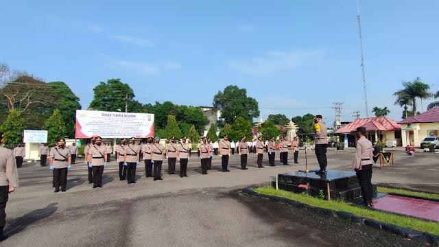 Kapolres Tebo Pimpin Sertijab Sejumlah Pejabat Utama dan Kapolsek