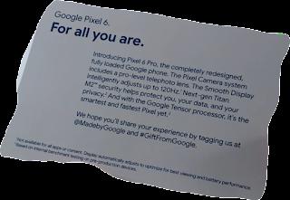 Google little card presented inside the box, reads like