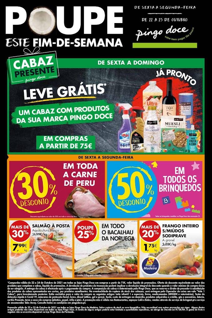 """Folheto PINGO DOCE """"Poupe Este Fim de Semana"""", seleção de produtos em promoção de 22 a 25 de outubro"""