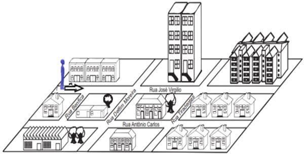 Para chegar à rua de sua casa, ele deve seguir em frente e virar na terceira rua à direita
