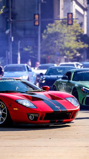Ford GT, Supercar, Sports car, Road wallpaper