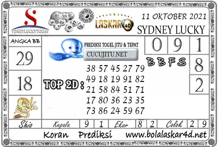 Prediksi Togel Sydney Lucky Today LASKAR4D 11 OKTOBER 2021