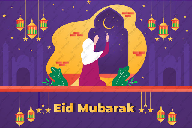 Flat eid al-fitr - eid mubarak illustration free vector download