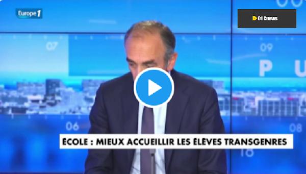 """[VIDEO] """"C'est criminel"""" : Eric Zemmour accuse Blanquer de """"céder à la propagande"""" américaine sur le changement de sexe"""