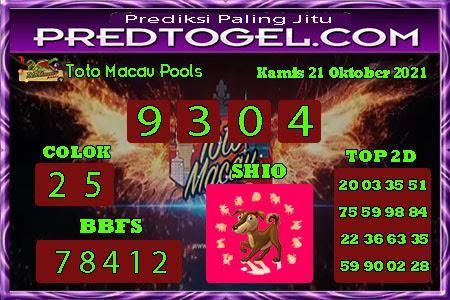 Pred Macau Kamis 21 Oktober 2021