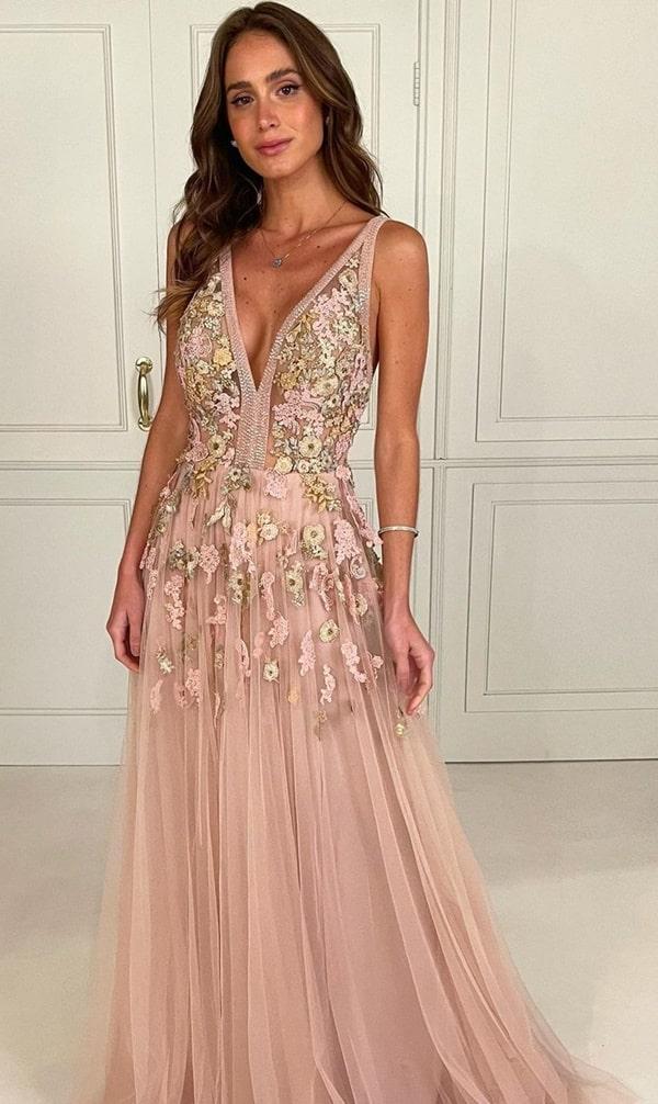 vestido longo rose com bordado para madrinha de casamento