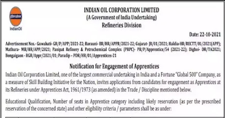IOCL Recruitment 2021 | Apply For 1858 Apprentice Posts