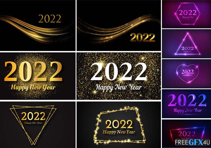 Happy New Year 2022 Vector Backgrounds Neon and Golden Collection