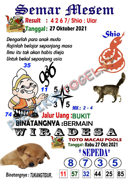 Syair Semar Mesem Togel Macau Rabu 27-10-2021