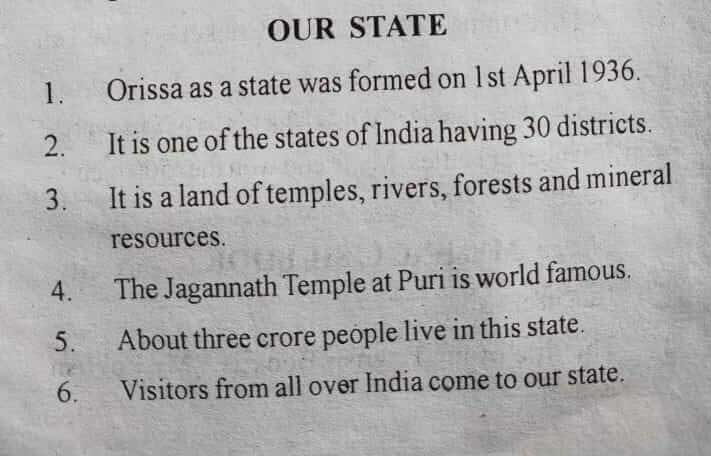 Our State - 10 Lines Essay in English Language