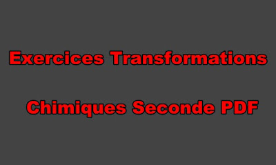 Exercices Transformations Chimiques Seconde PDF