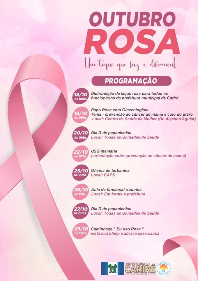 De 18 a 29 de outubro será realizada a programação alusiva ao 'Outubro Rosa' em Cariré-CE