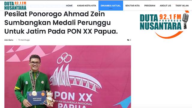 Pesilat Ponorogo Ahmad Zein Sumbangkan Medali Perunggu Untuk Jatim Pada PON XX Papua.