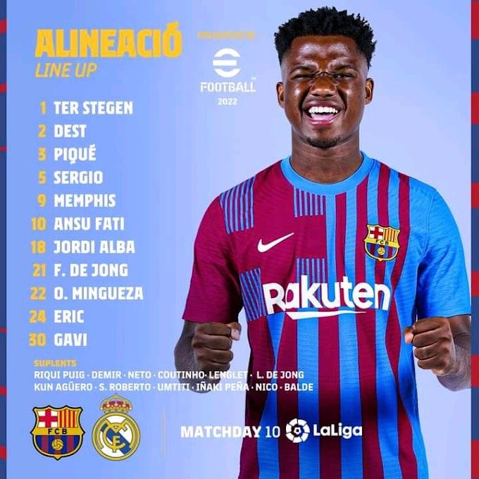 Barcelona vs Real Madrid official line up revealed