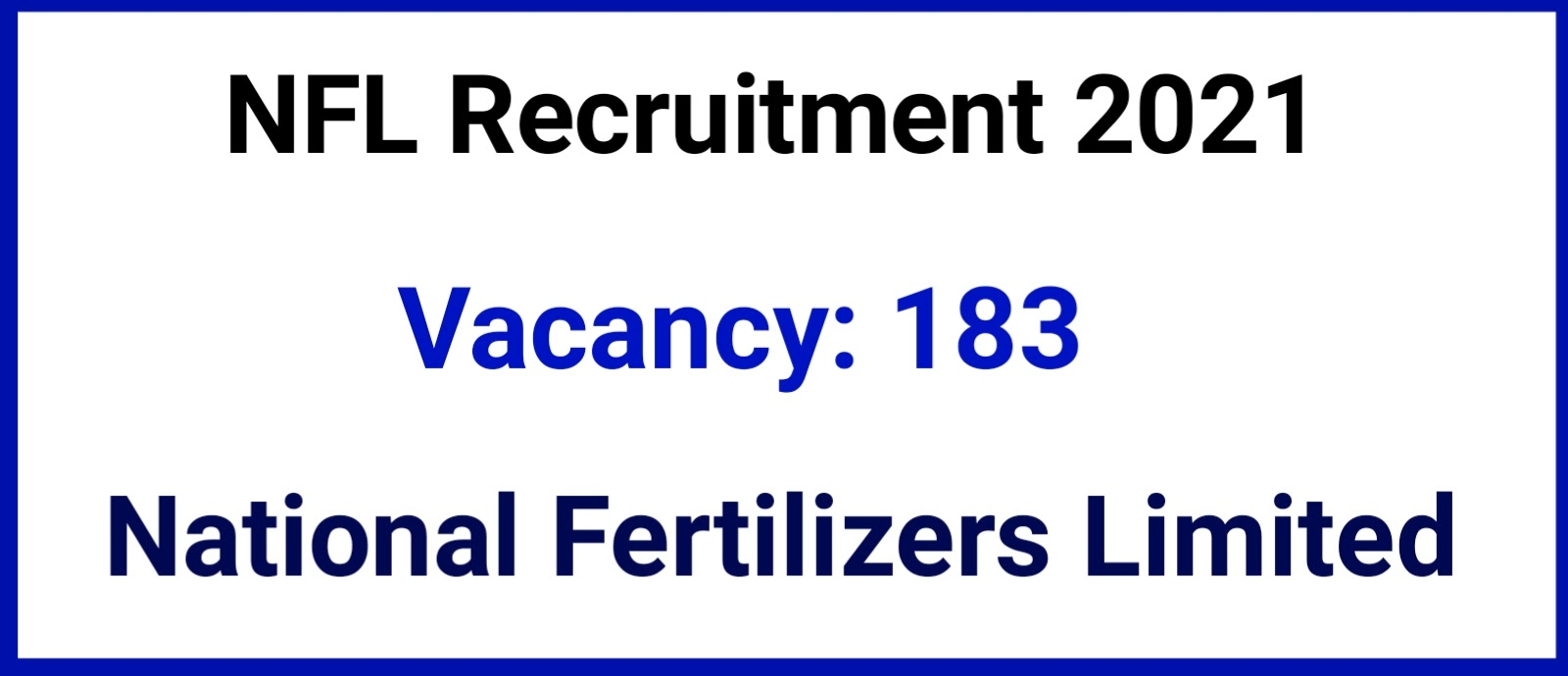 National Fertilizers Limited Recruitment 2021 – 183 Vacancy, Online Apply