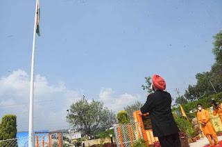 Governor Uttarakhand Lt General Gurmeet Singh Flag hoisting 125 feet height tiranga