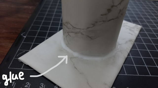Glue the outside of the base and stem to secure further