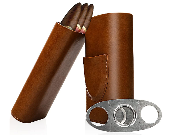 leather cigar travel case with cedar wood lining