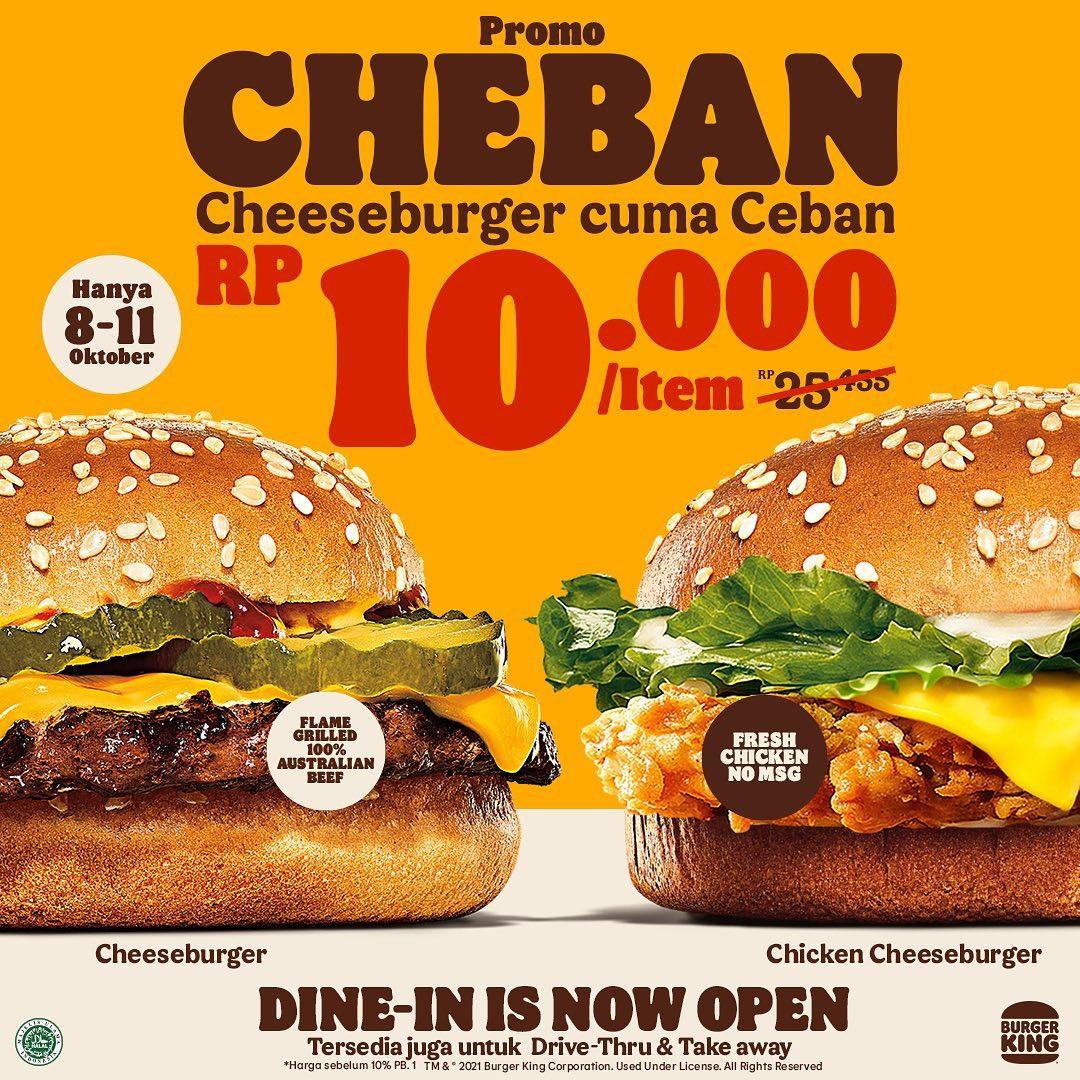 Promo BURGER KING CHEBAN - Cheeseburger / Chicken Cheeseburger cuma Rp. 10.000