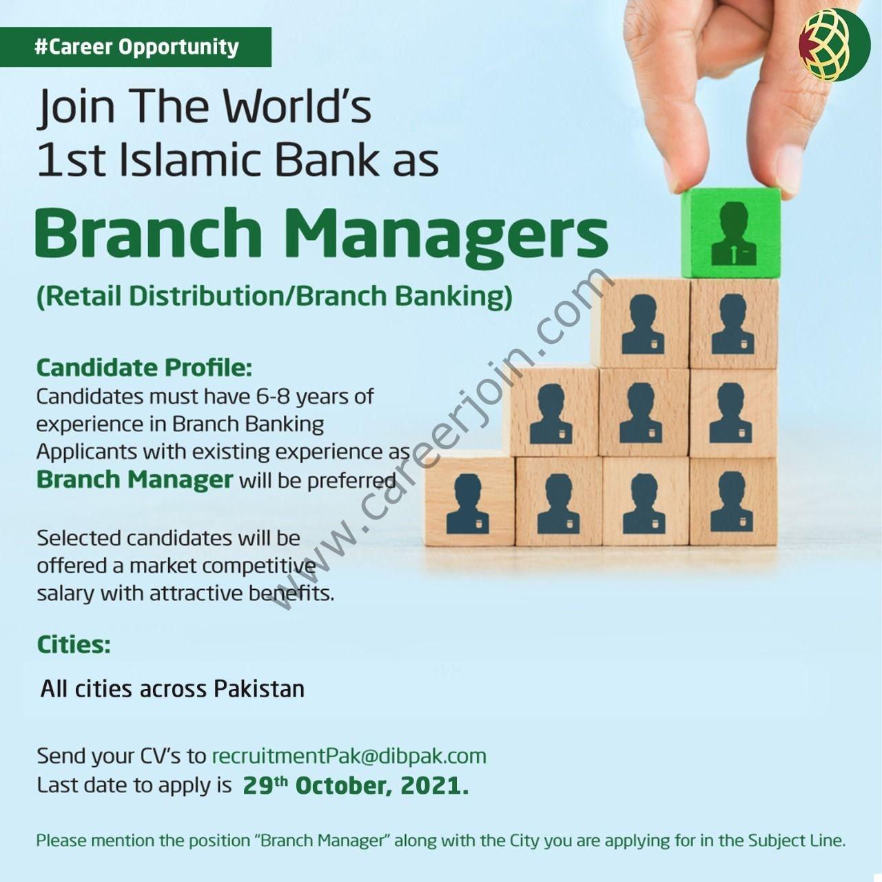 Dubai Islamic Bank Pakistan Limited DIBP Jobs Branch Managers