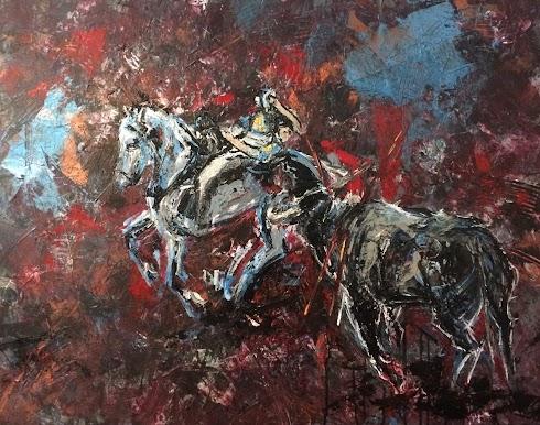 corrida à cheval peinte à l'écrylique par Karine Babel