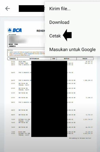 Cara Print Rekening Koran BCA Lewat m Banking