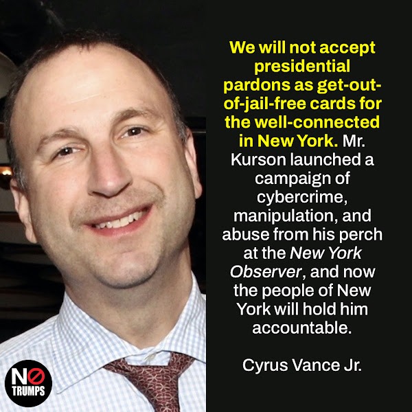 We will not accept presidential pardons as get-out-of-jail-free cards for the well-connected in New York. Mr. Kurson launched a campaign of cybercrime, manipulation, and abuse from his perch at the New York Observer, and now the people of New York will hold him accountable. — Manhattan District Attorney Cyrus Vance Jr.