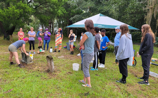 Emily Jane Murray, public archeologist with FPAN, hosts a headstone cleaning workshop