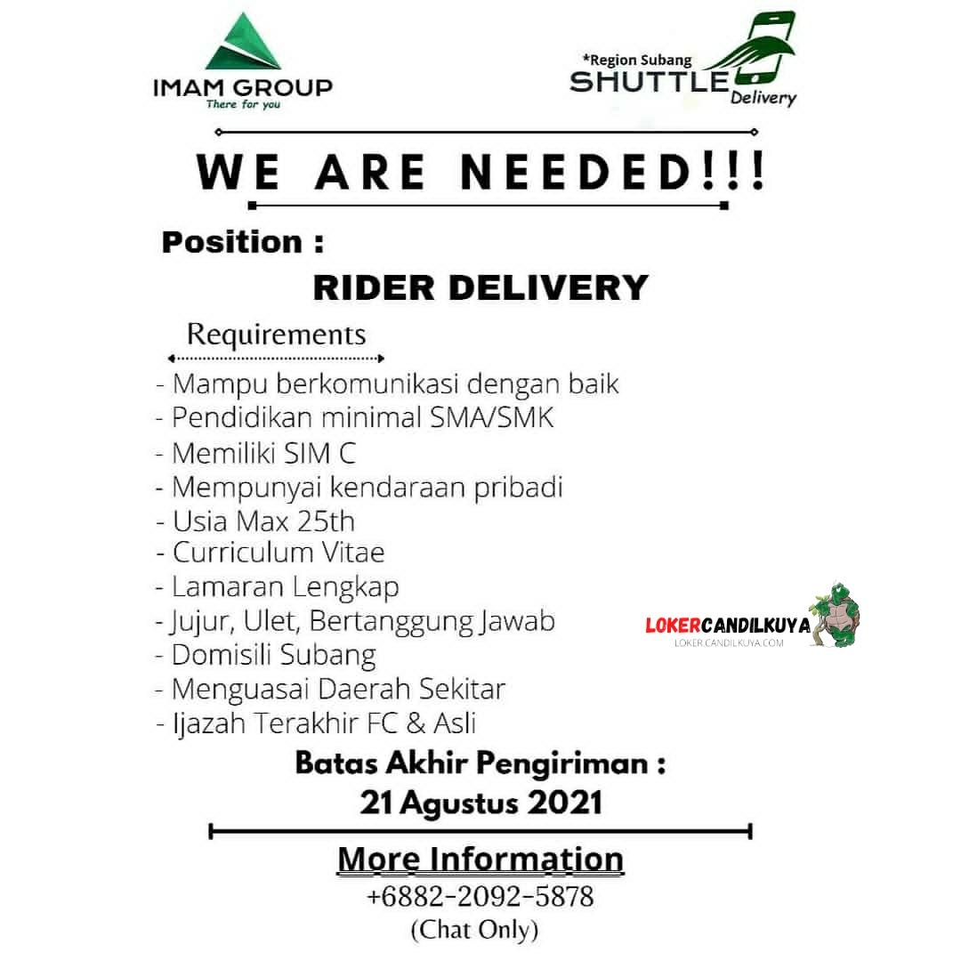 Lowongan Kerja Rider Delivery Imam Group