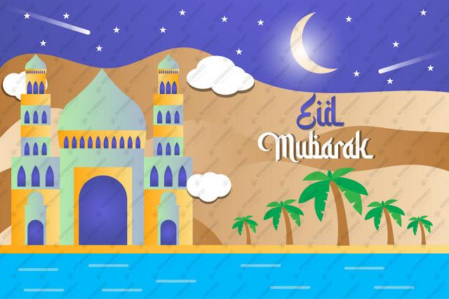 Eid Mubarak alligraphy design illustration free vector download
