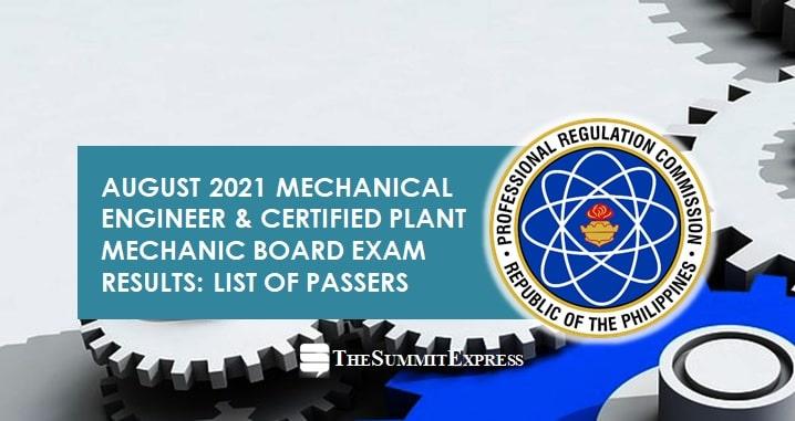 August 2021 Mechanical Engineer ME, CPM board exam list of passers, top 10