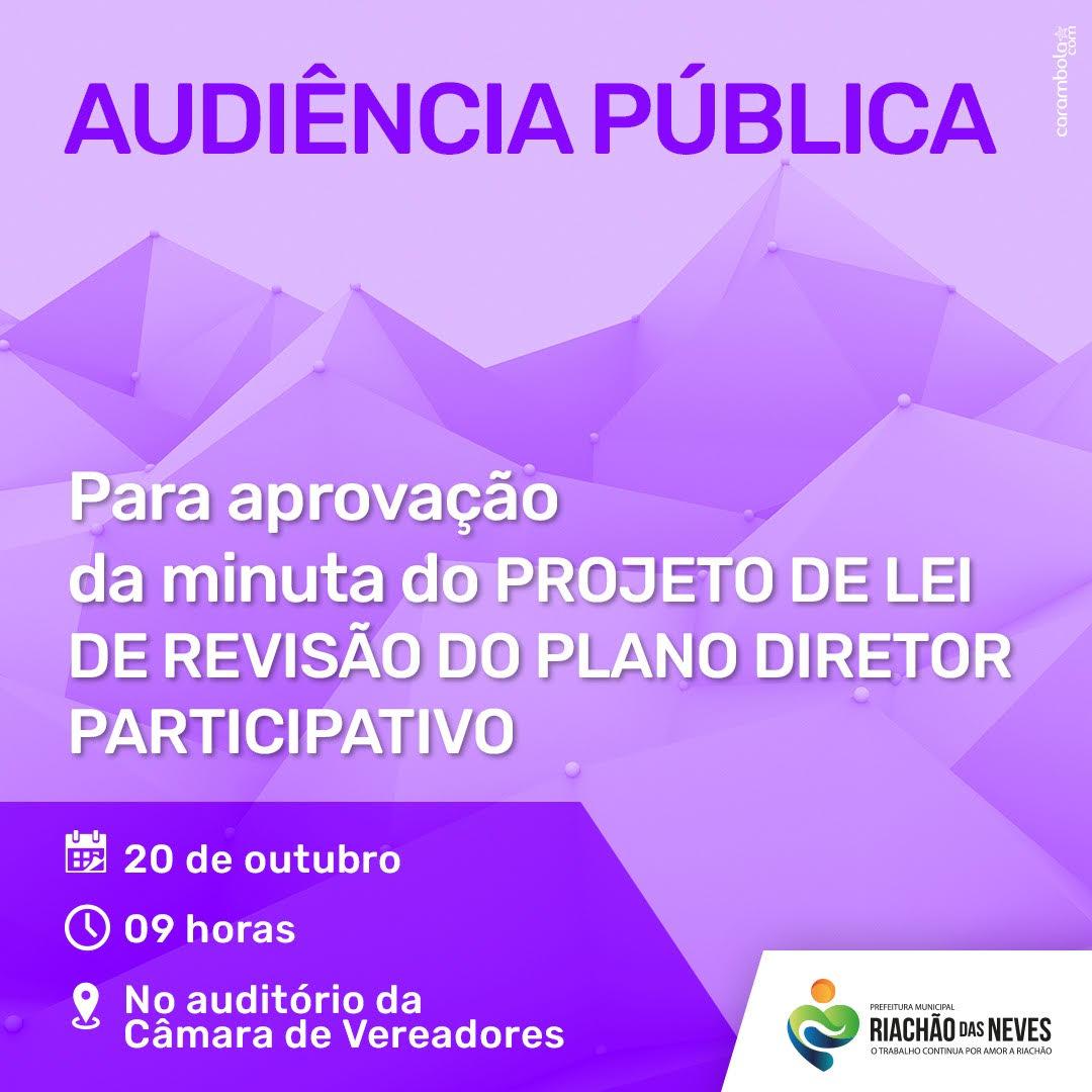Riachão das Neves realizará Audiência Pública para revisão do Plano Diretor Participativo