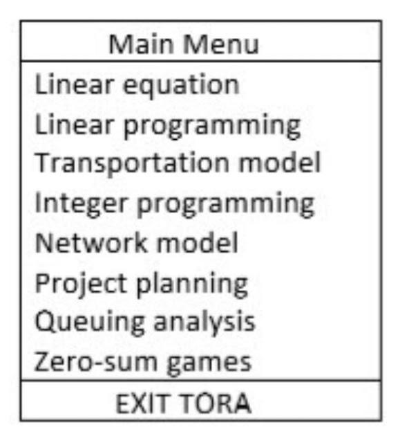 "Alt: = ""Tora software main menu screen"""