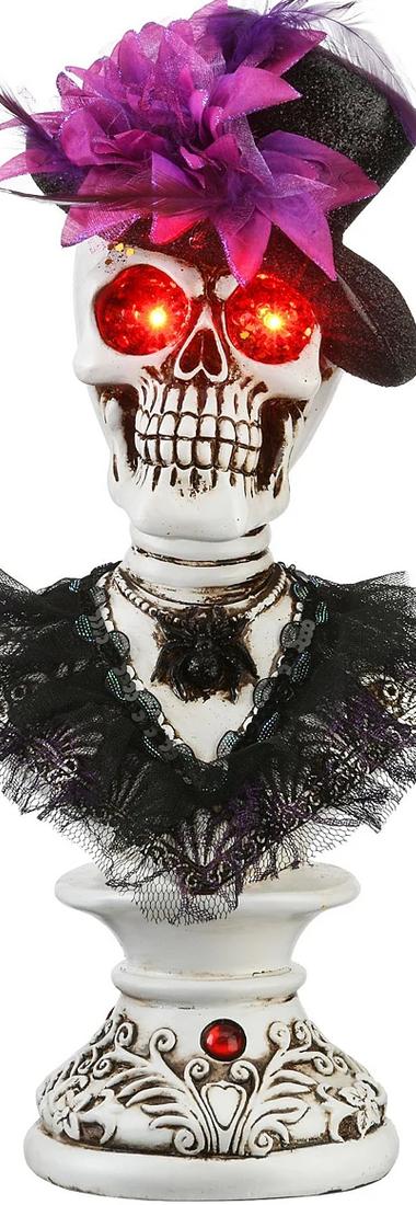 "National Tree Company 17"" Glowing Eyes Fancy Female Skeleton Bust 2"