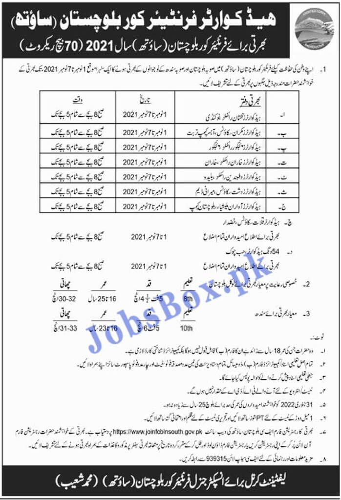 Frontier Corps Balochistan Jobs 2021 - Frontier Corps FC South Balochistan Jobs 2021