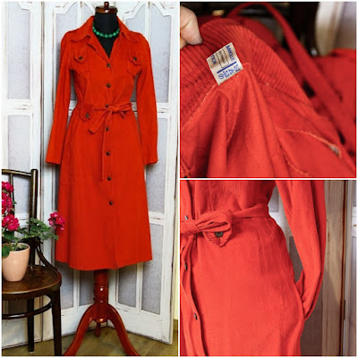 BONISTYLE-Rochie vintage roșu-oranj din anii '70 cu poșetă piele naturală cadou,măr.38/S,......70 Ron
