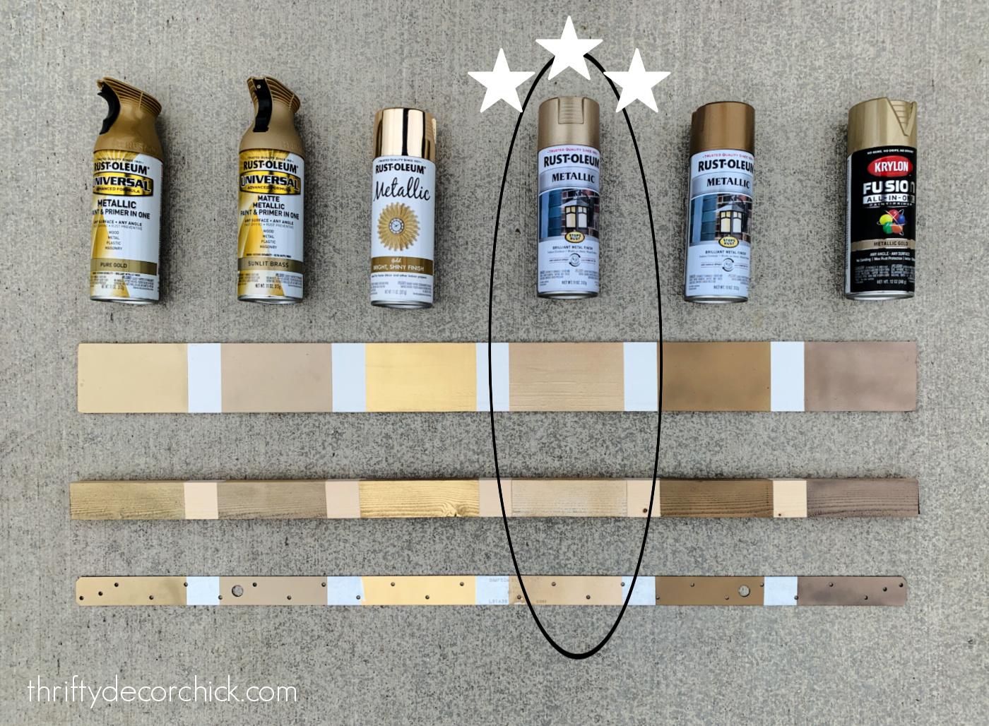 comparing six brass spray paints