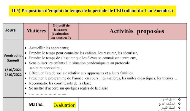 تدبير حصص أسبوع التقويم التشخيصي بالفرنسية من 01 إلى 09 أكتوبر 2021