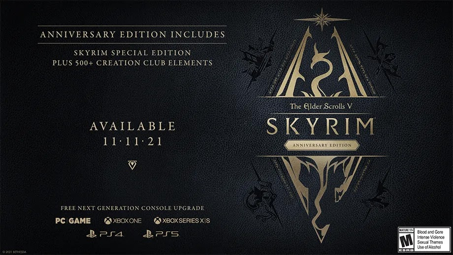 Skyrim Anniversary Edition will be released on November 11th