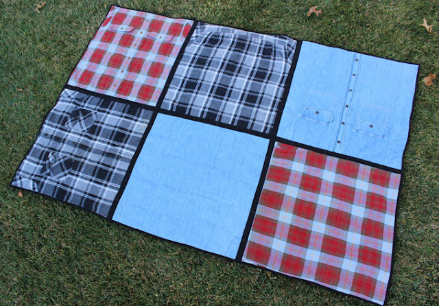 lap size quilt made from men's flannel shirts