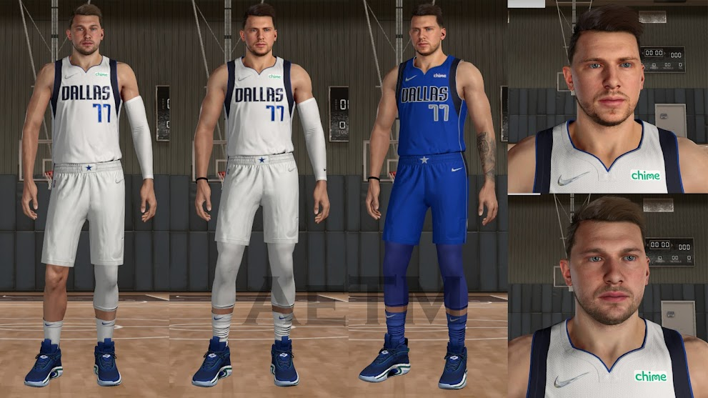 NBA 2K22 Luka Doncic Cyberface, Hair and Body Model By AeTM